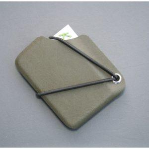 Kydexplånbok olivgrön med silvernit