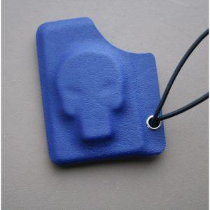 Kydexplånbok Döskalle Mörkblå med silvernit