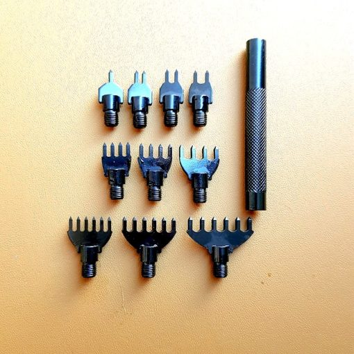 Gaffelmejselset Fyrkantig 11 delar till Läderslöjd