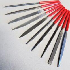 Nålfilar till finslip av bolster eller knivskaft
